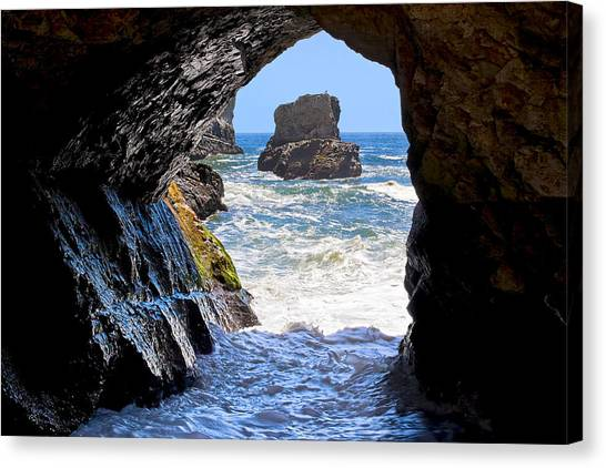 Canvas Print featuring the photograph In A Cave By The Sea - Northern Caifornia by Mark E Tisdale