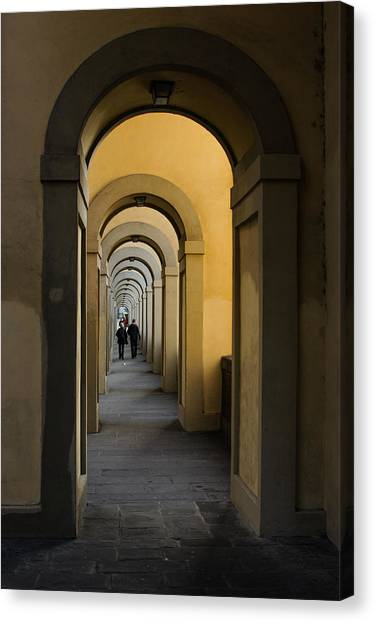 In A Distance - Vasari Corridor In Florence Italy  Canvas Print