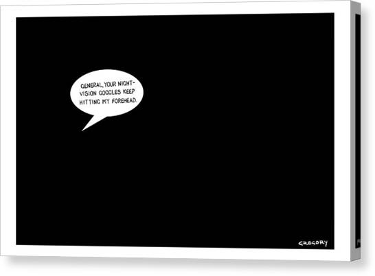 Cia Canvas Print - In A Pitch Black Room A Speech Bubble Appears by Alex Gregory