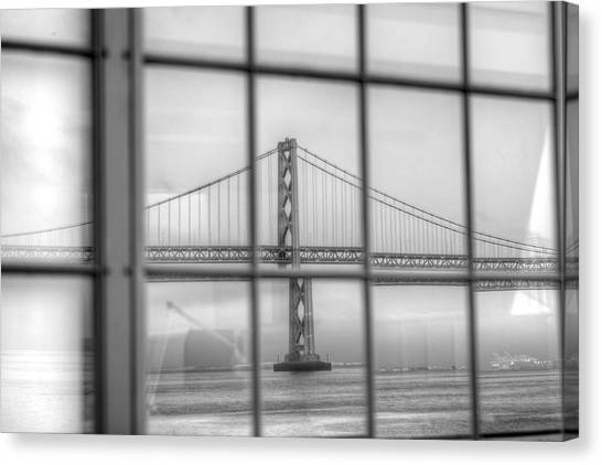 in a window the Bay Bridge Canvas Print