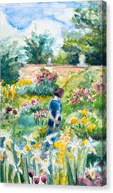 In An English Cottage Garden Canvas Print