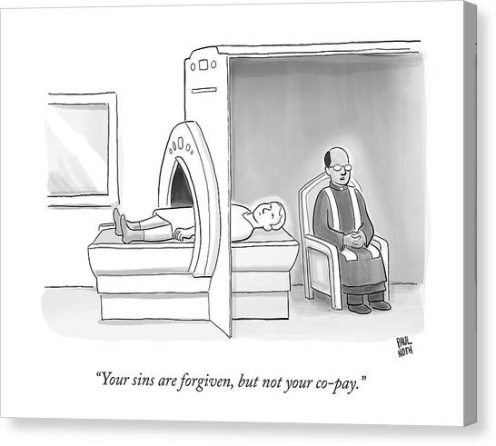 Confession Canvas Print - In An Mri Machine by Paul Noth