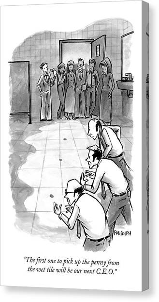 In An Office Bathroom A Businessman Holds Canvas Print by Corey Pandolph