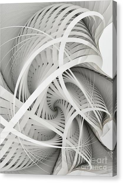 Dimensional Canvas Print - In Betweens-white Fractal Spiral by Karin Kuhlmann