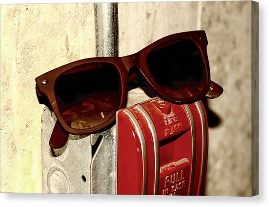In Case Of Fire Grab Shades Canvas Print