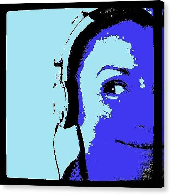 Headphones Canvas Print - In My Music Bubble by Lisa Claire Harrison