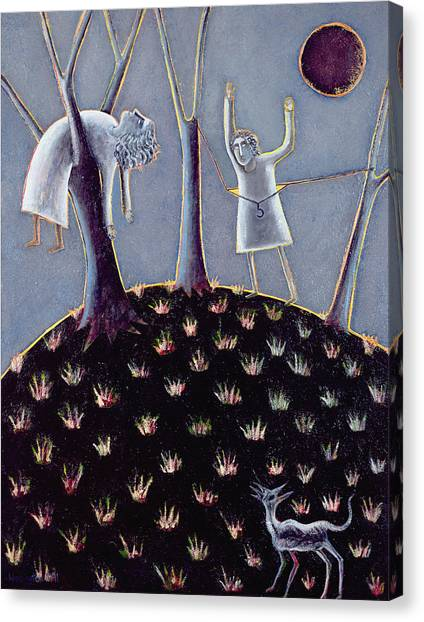 Coat Hanger Canvas Print - In Praise Of Expectation, 1991 Oil On Canvas by Celia Washington