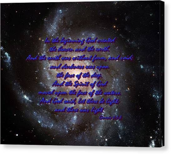 In The Beginning God Genesis 1 1-3 Canvas Print by L Brown