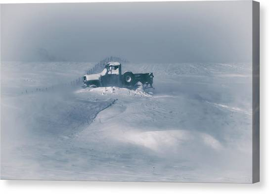 Old Truck Canvas Print - In The Blizzard by Christian Duguay