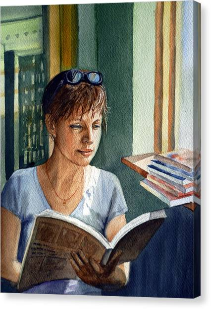 Print On Canvas Print - In The Book Store by Irina Sztukowski