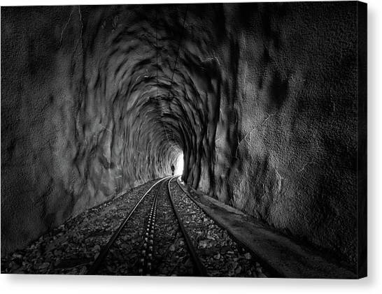 Tunnels Canvas Print - In The Bowels Of The Mountain-bw by Vito Guarino