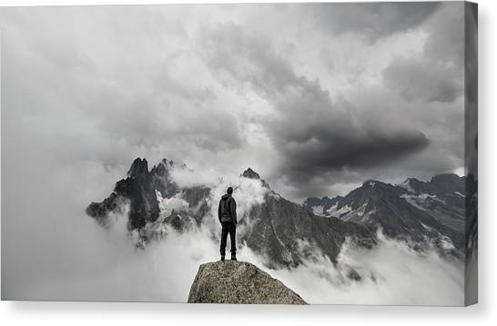 Mountain Climbing Canvas Print - In The Clouds by Micha?