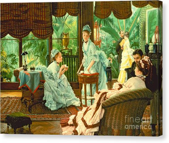 Victorian Garden Canvas Print - In The Conservatory  by James Jacques Tissot