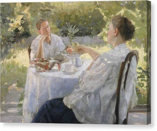 Tea Time Canvas Print - In The Garden by Lukjan Vasilievich Popov