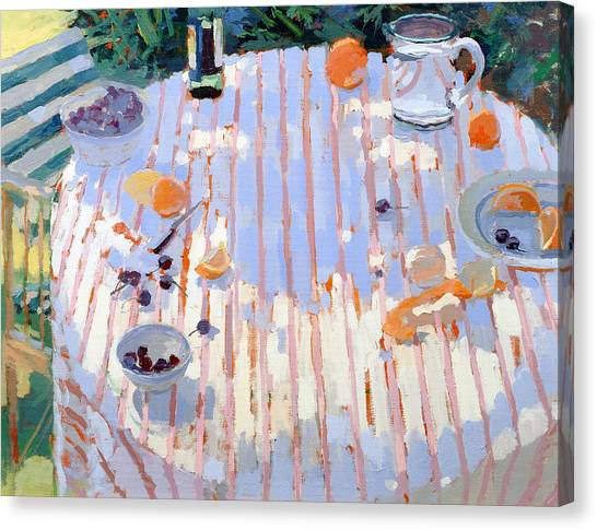 Fruit Baskets Canvas Print - In The Garden Table With Oranges  by Sarah Butterfield