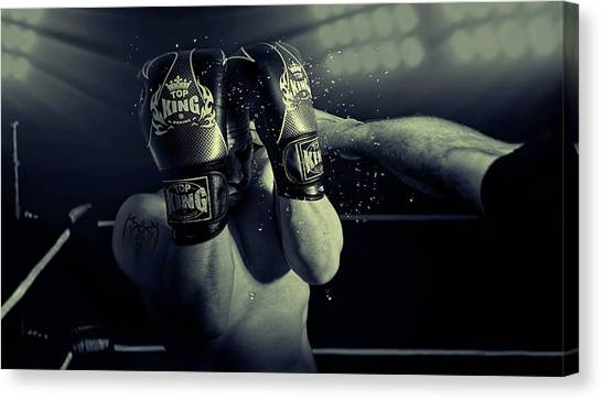 Boxing Canvas Print - In The Glare Of The Lights by Adrian Vrican