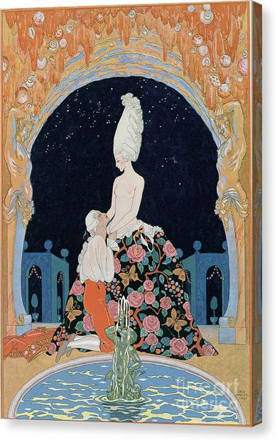 Confession Canvas Print - In The Grotto by Georges Barbier