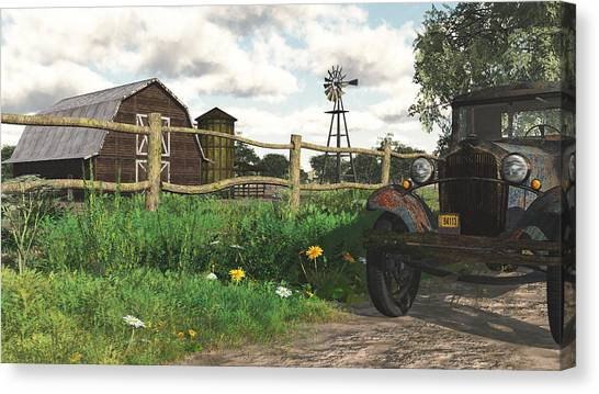 Rusty Truck Canvas Print - In The Heartland by Jayne Wilson
