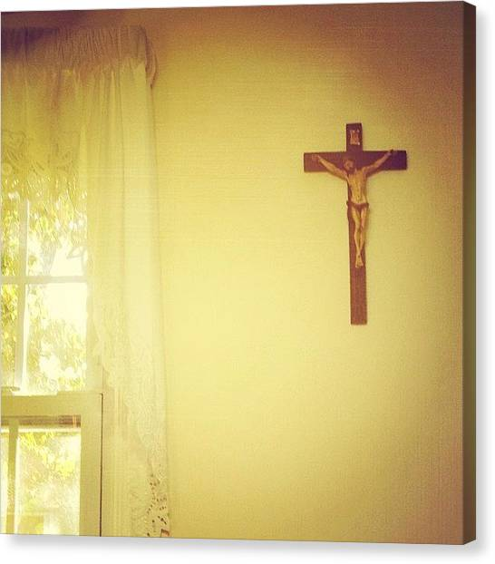 Jerseys Canvas Print - In The Kitchen #cross #window #curtain by Red Jersey