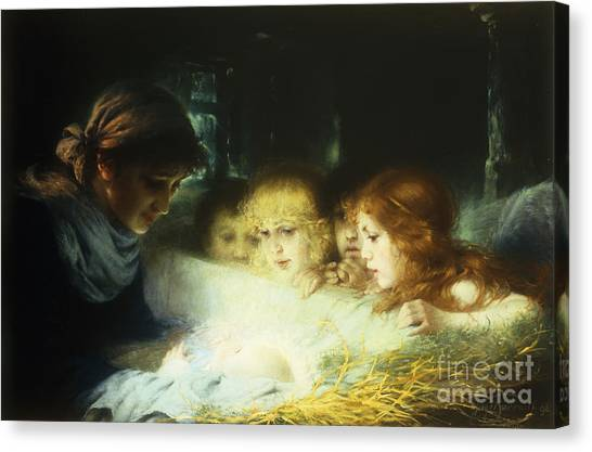 Holy Bible Canvas Print - In The Manger by Hugo Havenith