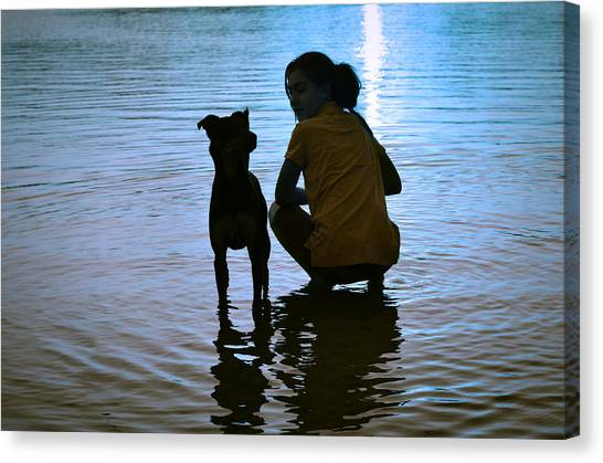 Children And Dog Canvas Print - In The Moonlight by Laura Fasulo