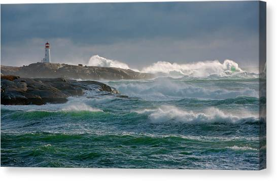 Nova Scotia Canvas Print - In The Protection Of A Lighthouse by Jamie Morrison