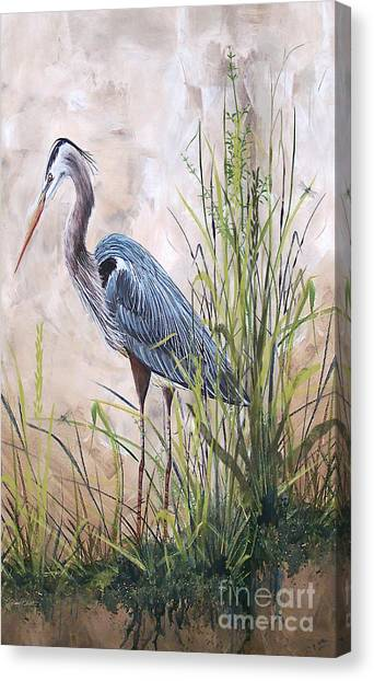 Marsh Grass Canvas Print - In The Reeds-blue Heron-b by Jean Plout
