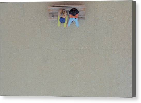 Bench Canvas Print - In The Solitude Of Cities... by Thierry Dufour