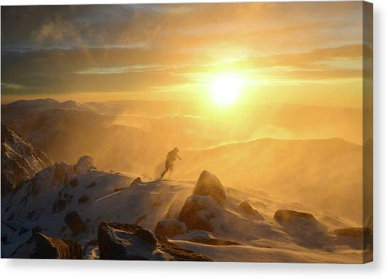 Mountain Sunsets Canvas Print - In The Storm by Radoslav Stoilov