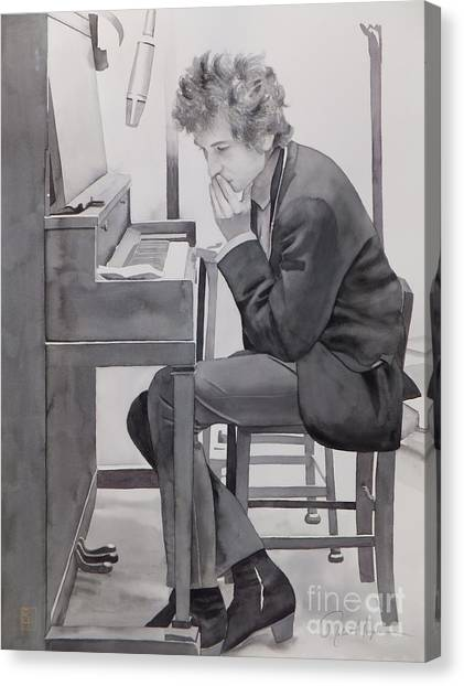 Bob Dylan Canvas Print - In The Studio by Robert Hooper