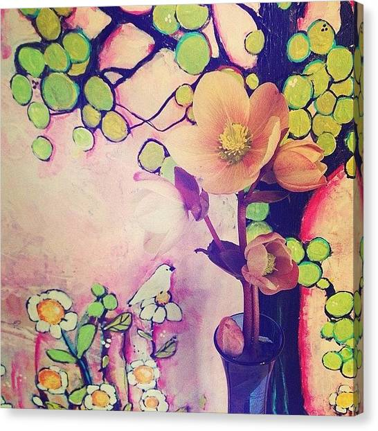 Flower Canvas Print - In The Studio Today, Fresh Flowers From by Blenda Studio