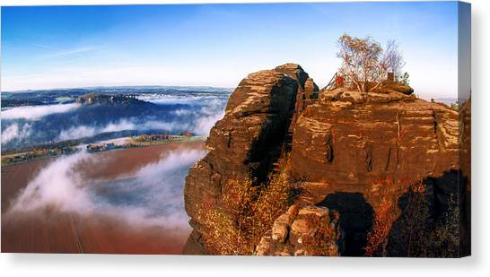 In The Sun Glowing Rock On The Lilienstein Canvas Print