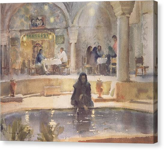 Iranian Canvas Print - In The Teahouse, Kerman Wc On Paper by Trevor Chamberlain