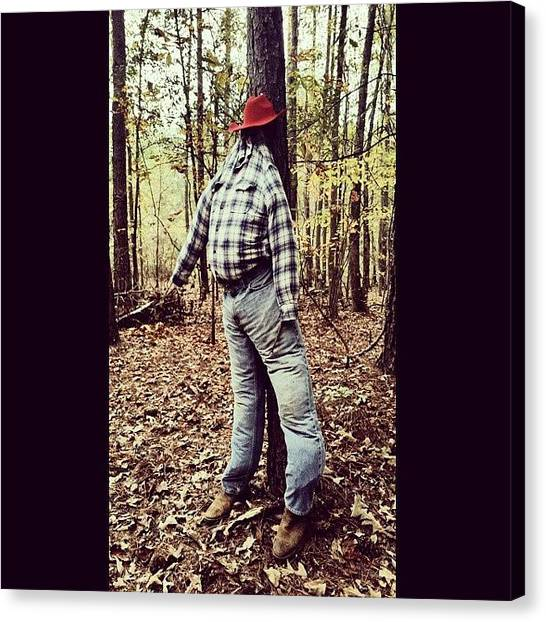 Scarecrows Canvas Print - In The Woods, On The Trail. :) by Nikki French Smith