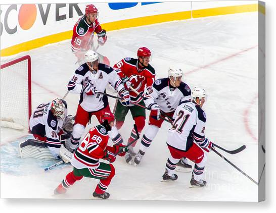 New Jersey Devils Canvas Print - In The Zone by David Rucker
