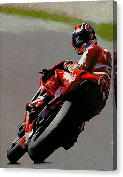 In Victory  Casey Stoner Canvas Print