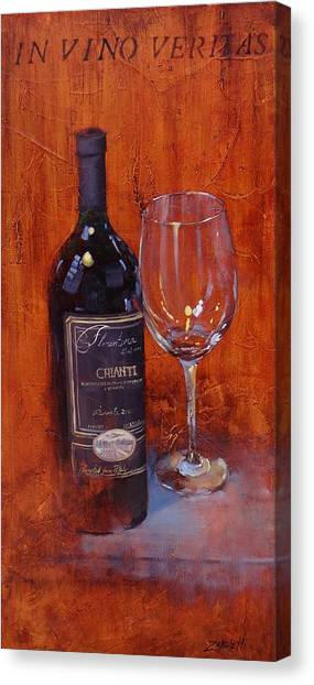 Wine Bottles Canvas Print - In Vino Veritas by Laura Lee Zanghetti