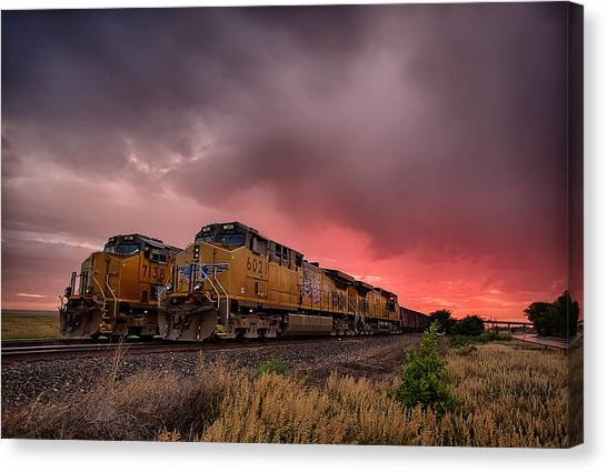 Railroads Canvas Print - In Waiting by Thomas Zimmerman