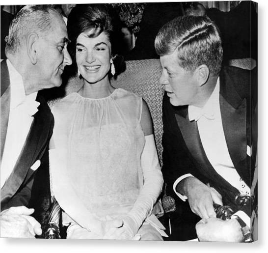 Lyndon Johnson Canvas Print - Inaugural Ball Conversation by Underwood Archives