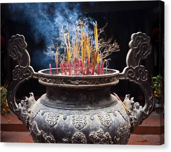 Incense Sticks Burn In Large Ceremonial Temple Urn Canvas Print