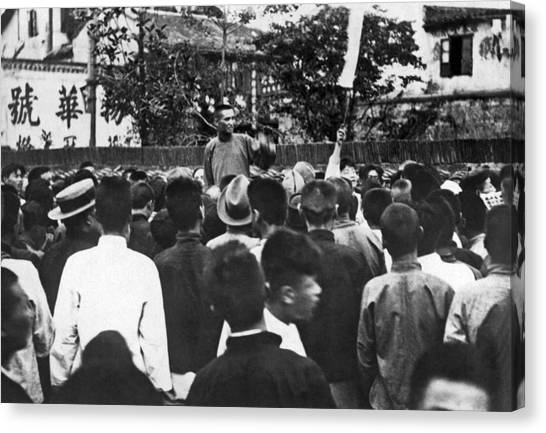 China Town Canvas Print - Inciting Strikers In Shanghai by Underwood Archives