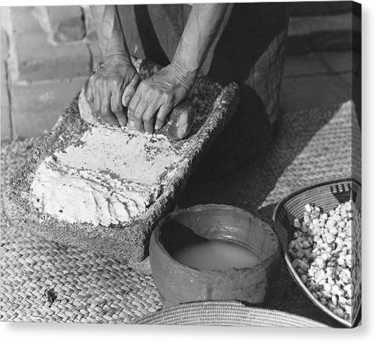 Mission California Canvas Print - Indains Making Corn Flour by Underwood Archives Onia