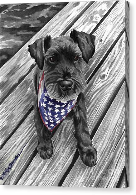 Watercolor Schnauzer Black Dog Canvas Print