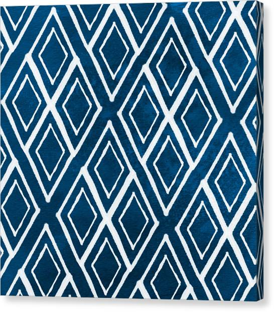 Blue Canvas Print - Indgo And White Diamonds Large by Linda Woods