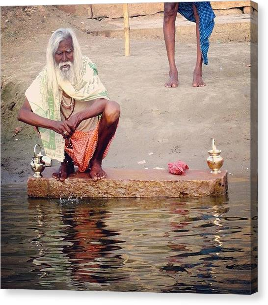 Ganges Canvas Print - #india #varanasi #ganges #oldman by Kiran Wylie