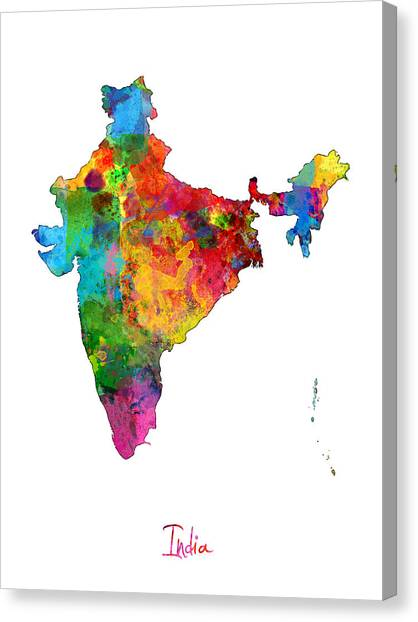 Asia Canvas Print - India Watercolor Map by Michael Tompsett