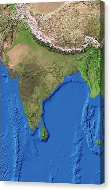Karakoram Canvas Print - India by Worldsat International/science Photo Library