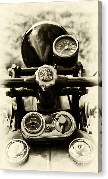 Scouting Canvas Print - Indian 500cc Scout Sepia by Tim Gainey