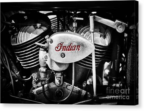 Scouting Canvas Print - Indian 741b 500cc Scout Engine by Tim Gainey