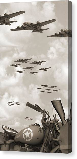 Indian 841 And The B-17 Panoramic Sepia Canvas Print